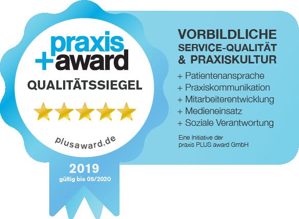 Praxissiegel für vorbildliche Service-Qualität und Praxiskultur der Zahnklinik ALL DENTE..