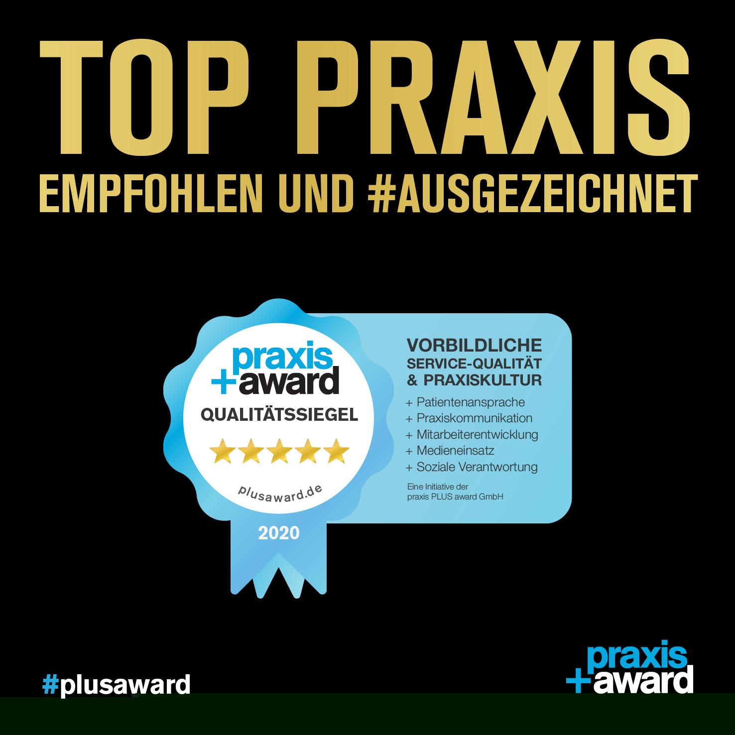 Praxis+Award Qualitätssiegel für All Dente in Kamen